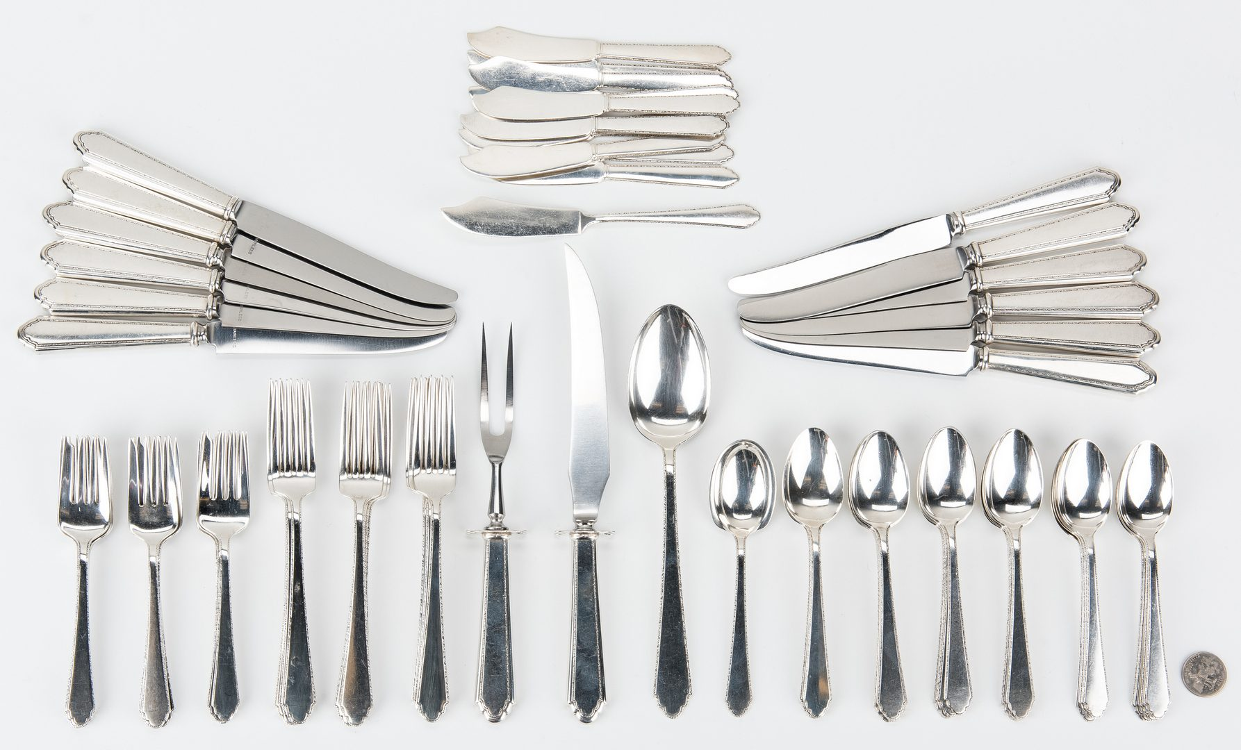 Lot 439: Lunt William & Mary Sterling Flatware, 77 Pcs.