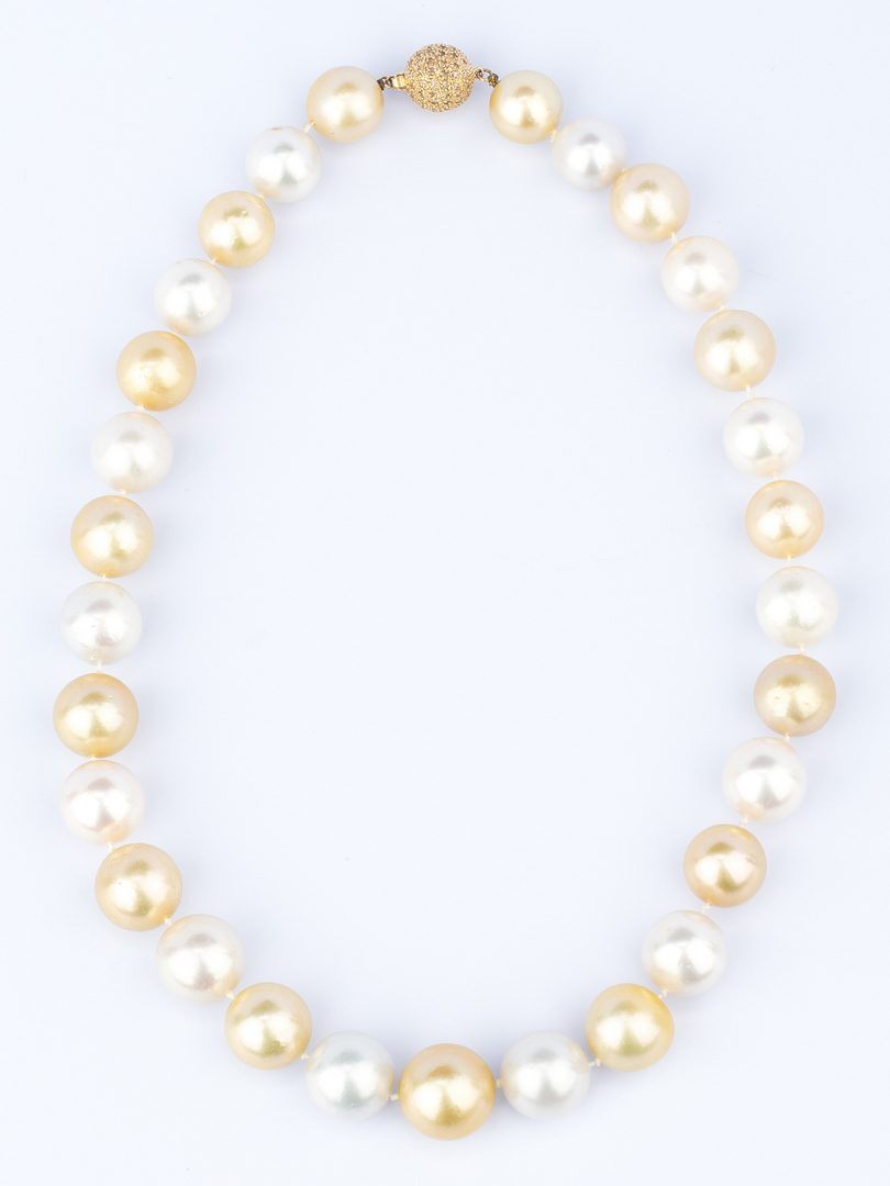 Lot 43: White, Lt. Golden South Sea Pearls w/ Dia. Clasp