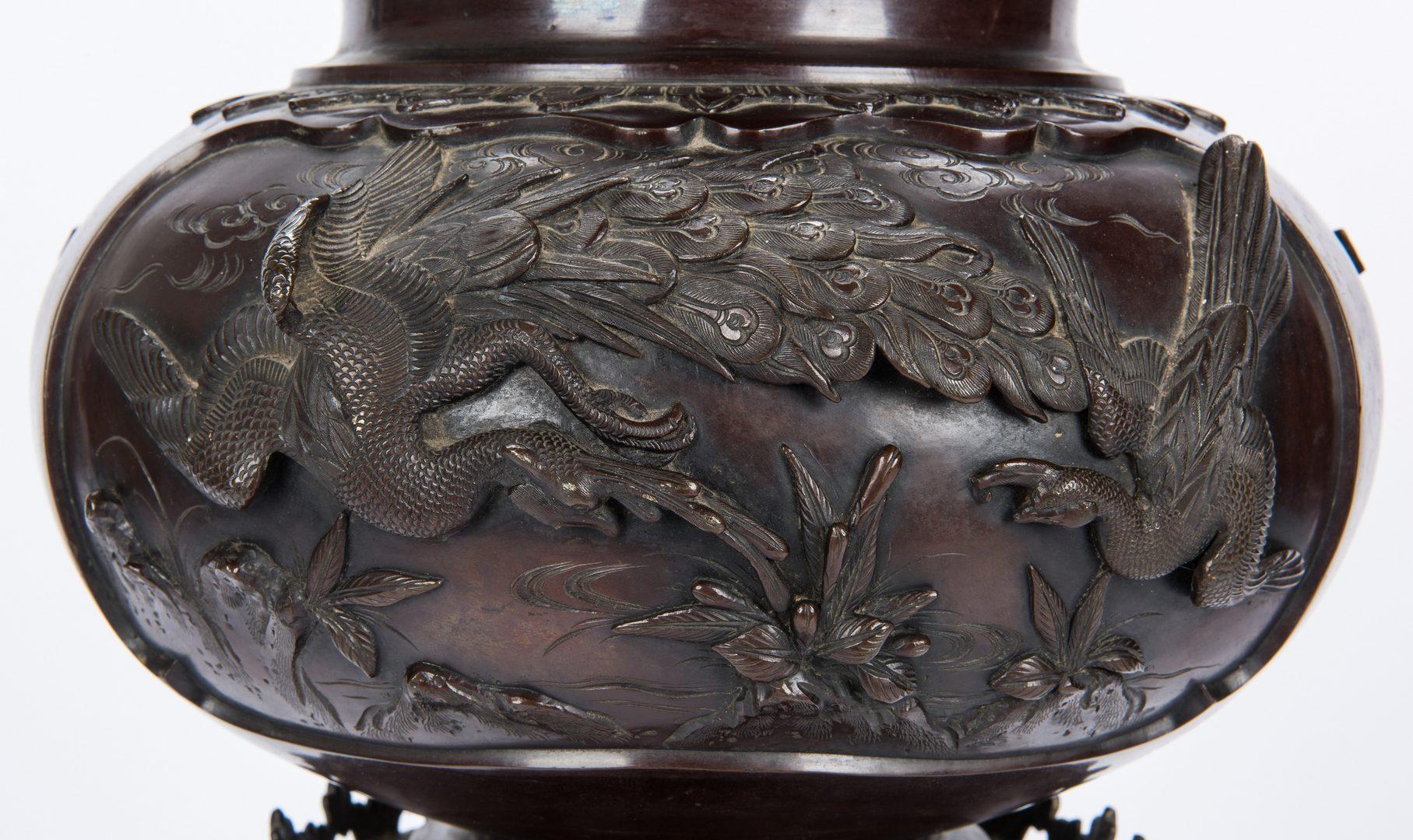Lot 442: Japanese Meiji Bronze Pedestal Urn