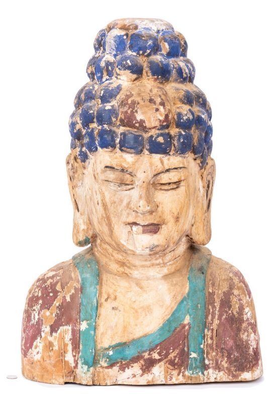 Lot 444: Polychrome Painted SE Asian Head
