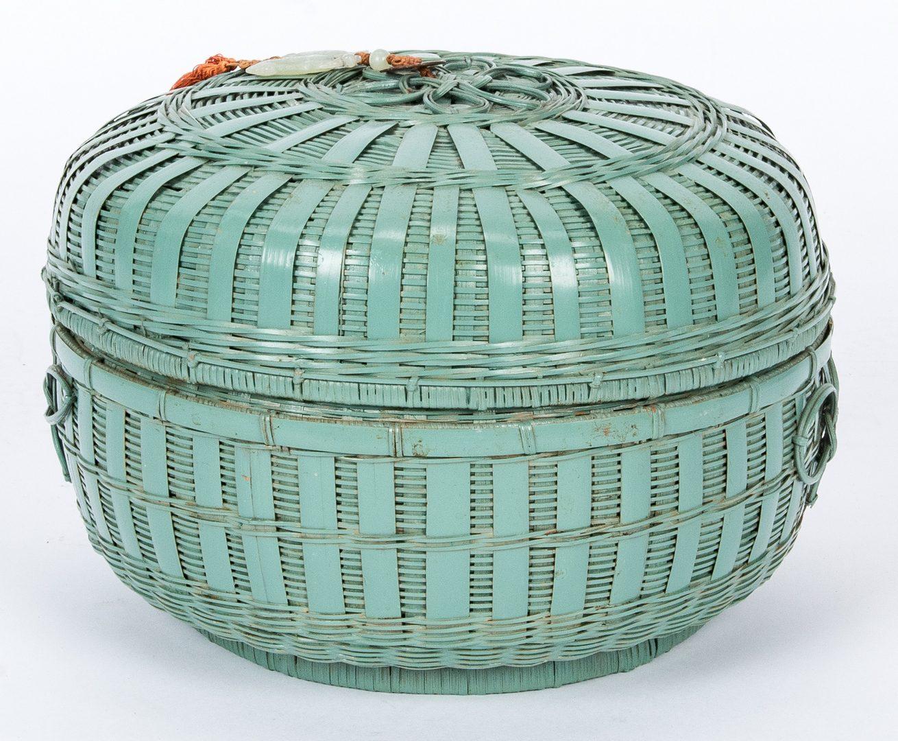 Lot 445: Chinese Storage Basket w/ White Jade & 2 Chinese Chests