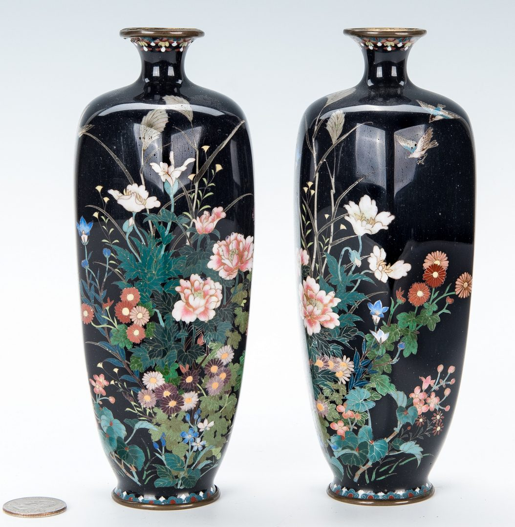 Lot 446: 2 Asian Cloisonne Vases, Birds and Peonies