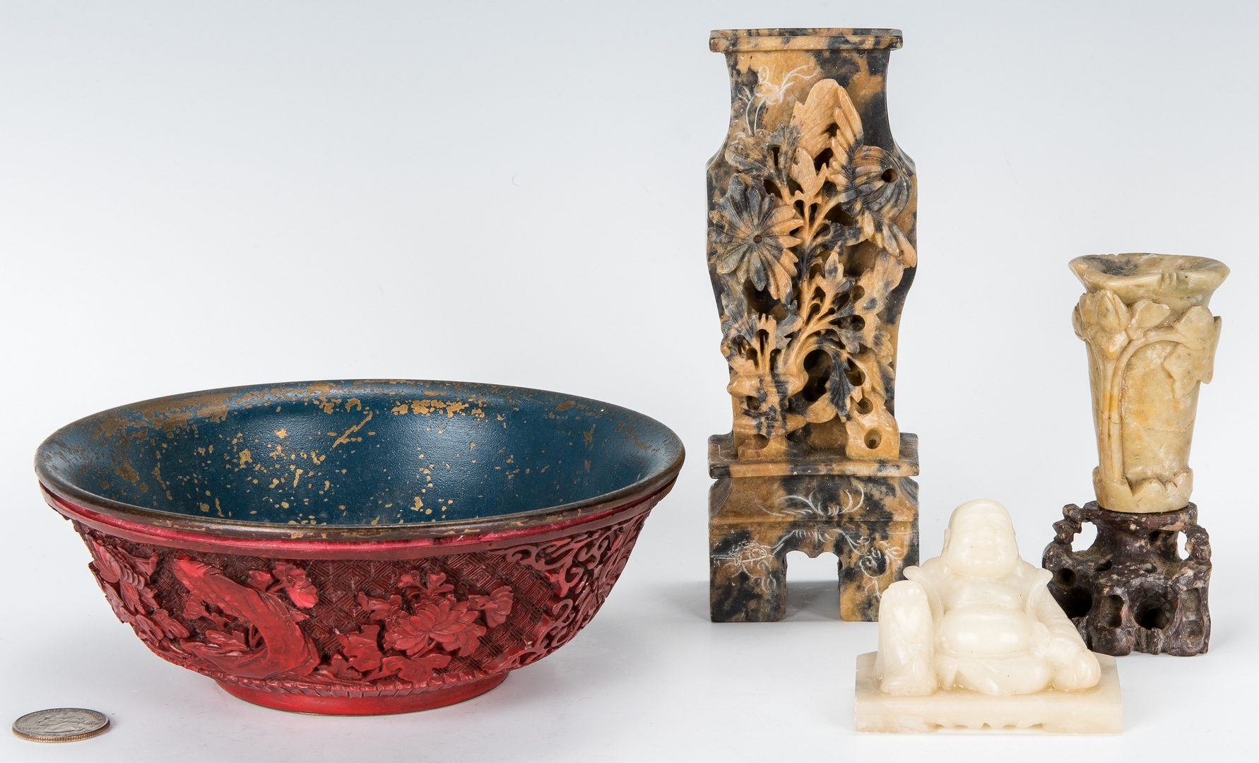 Lot 448: 3 Carved Hardstone Items & 1 Cinnabar Bowl