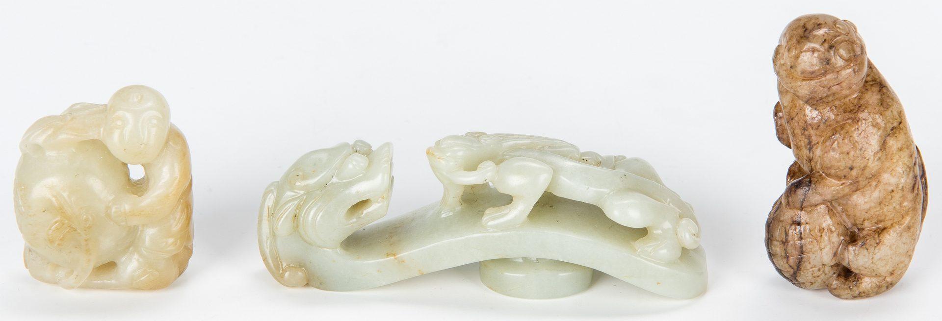 Lot 449: 5 Chinese Jade Figurals & 1 Jade Belt Hook