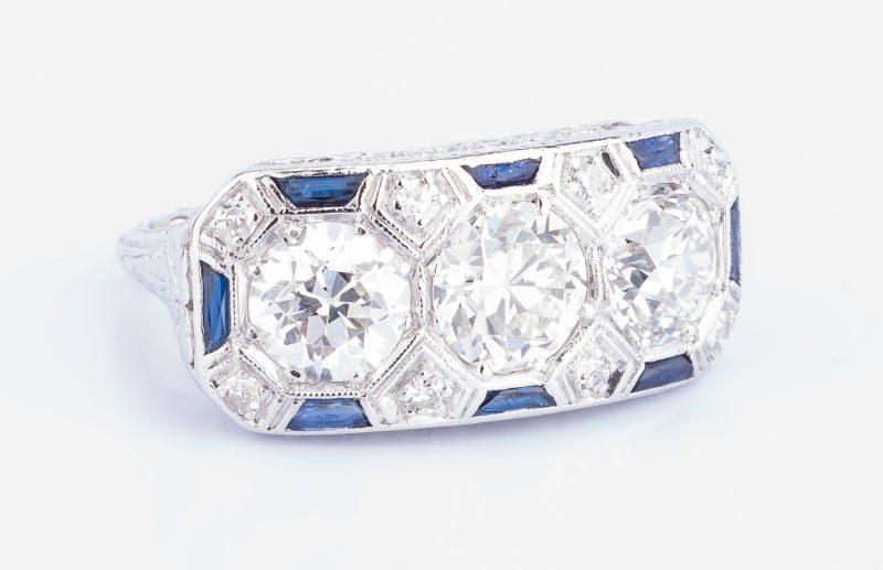Lot 44: Art Deco Diamond Sapphire 3-stone Ring