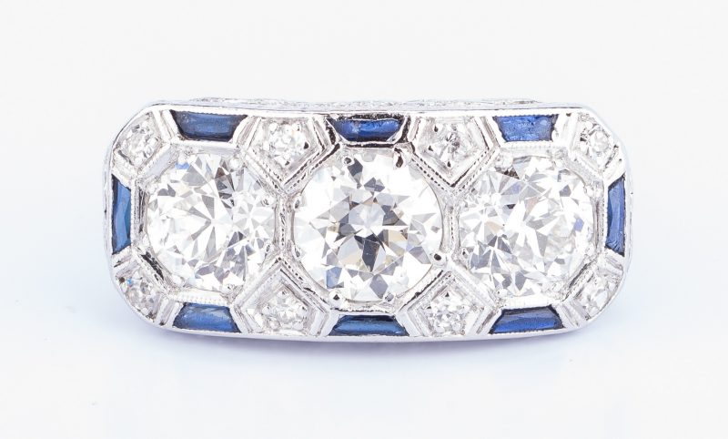 Lot 44: Art Deco Diamond Sapphire 3-stone Ring