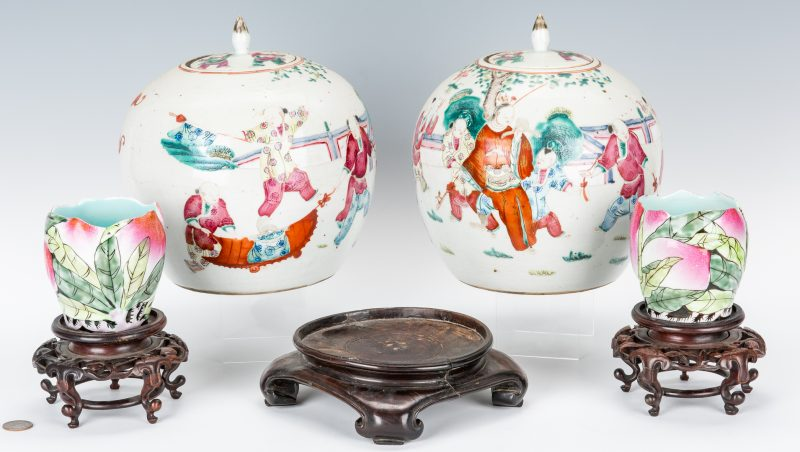 Lot 457: Pair Chinese Export Jars and Pair Cups