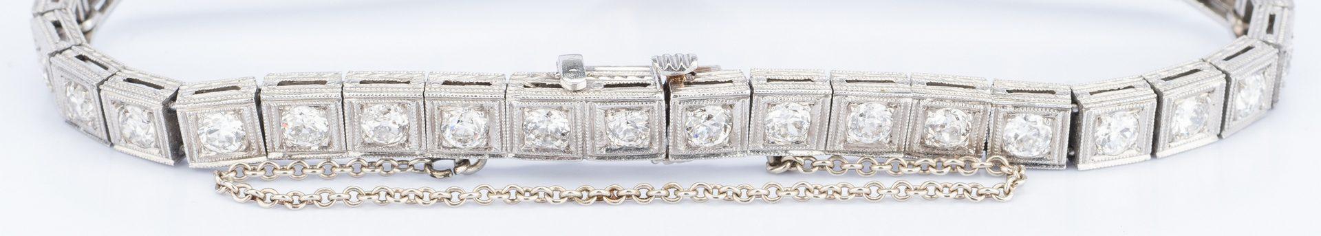Lot 45: Art Deco Platinum Diamond Sapphire Bracelet