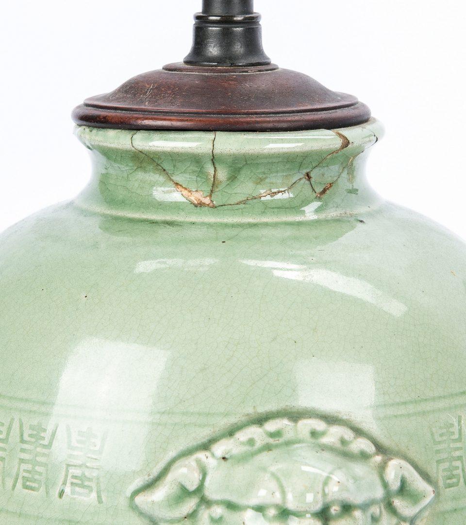 Lot 460: 3 Celadon Vessels Mounted as Lamps