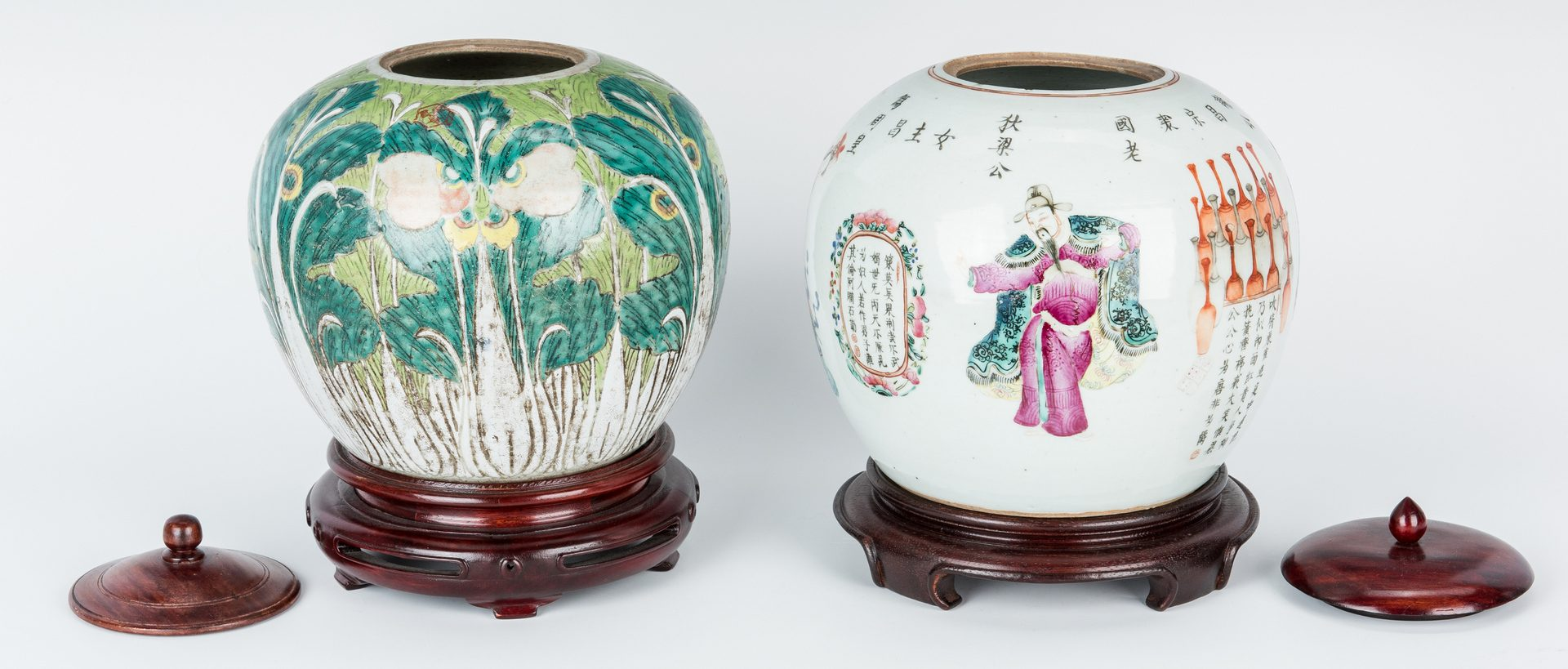 Lot 461: 2 Chinese Export Ginger Jars, early 20th c.