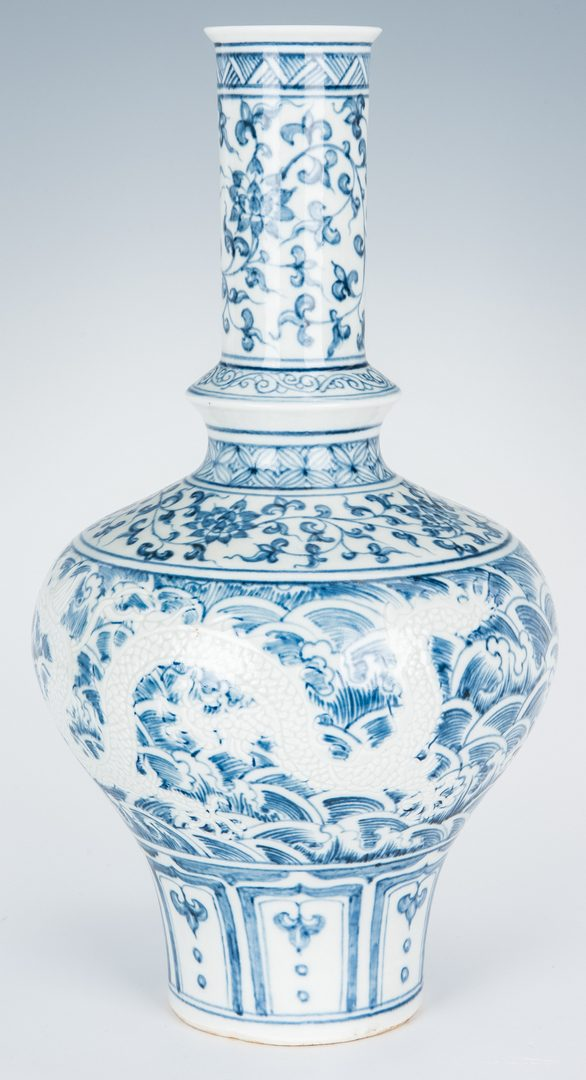 Lot 468: Chinese Blue & White Vase & White Mei Ping Vase