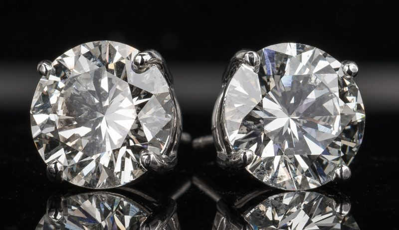 Lot 46: Diamond Stud Earrings, 8.34 ct t.w. GIA
