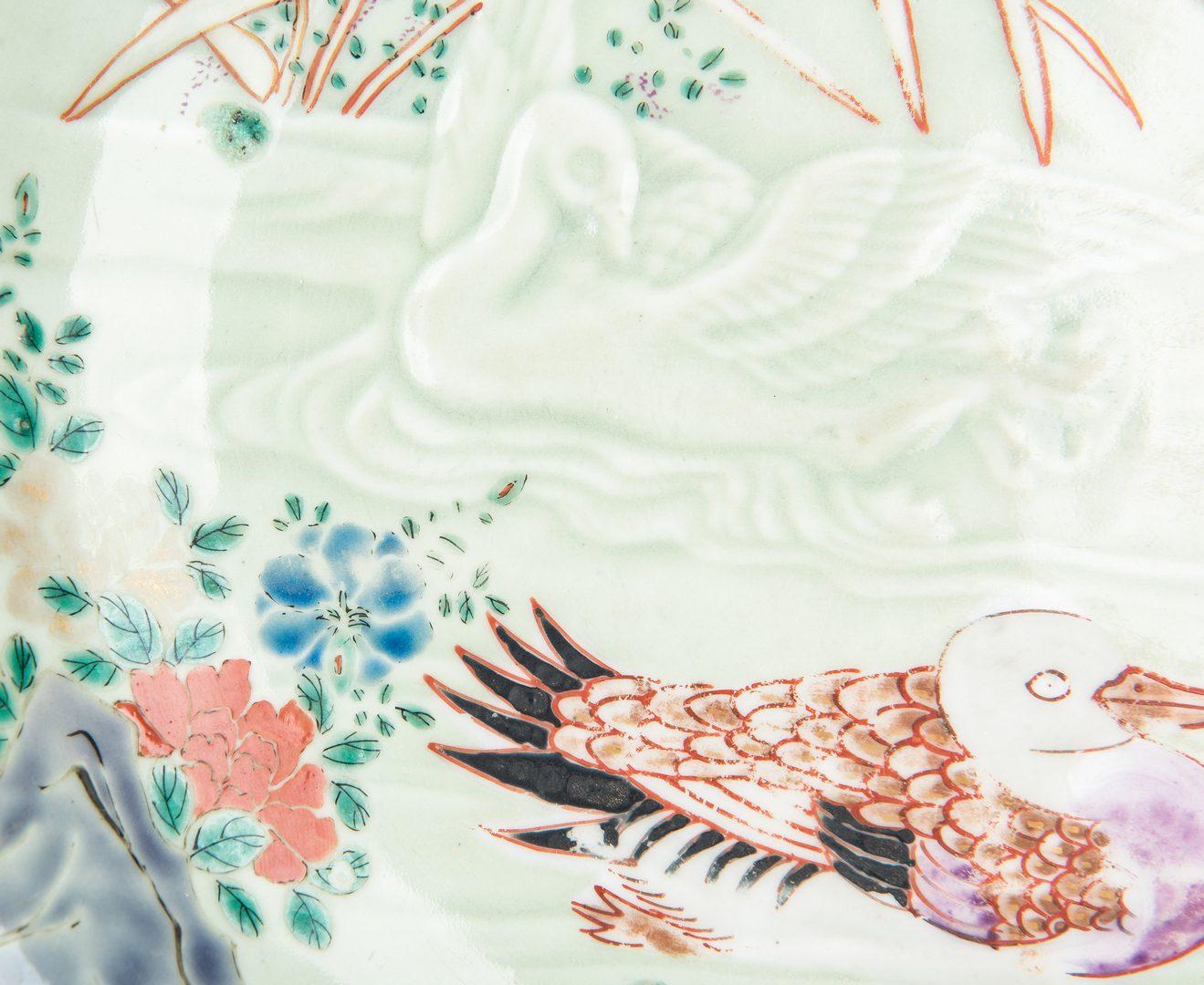 Lot 471: Japanese Satsuma Figure; Celadon Plate