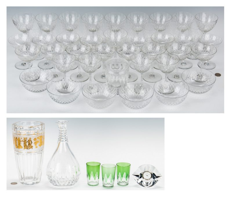 Lot 474: 51 Crystal & Glass Items, incl. Baccarat, Val St. Lambert, Orrefors