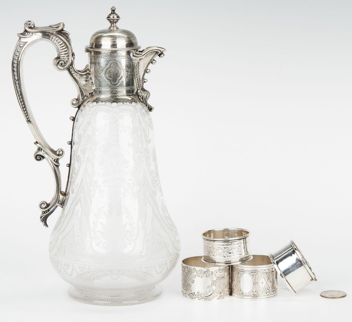 Lot 475: Etched Claret Jug & 4 Sterling Napkin Rings