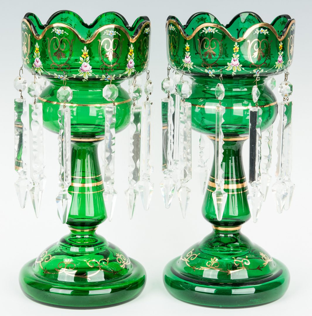 Lot 476: 2 Pair Bohemian Glass Mantel Lustres