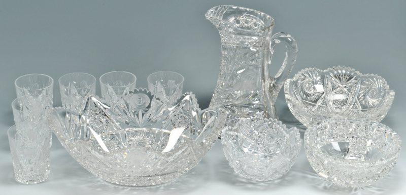 Lot 479: 11 Cut Glass items, incl. Bridgeton Rose