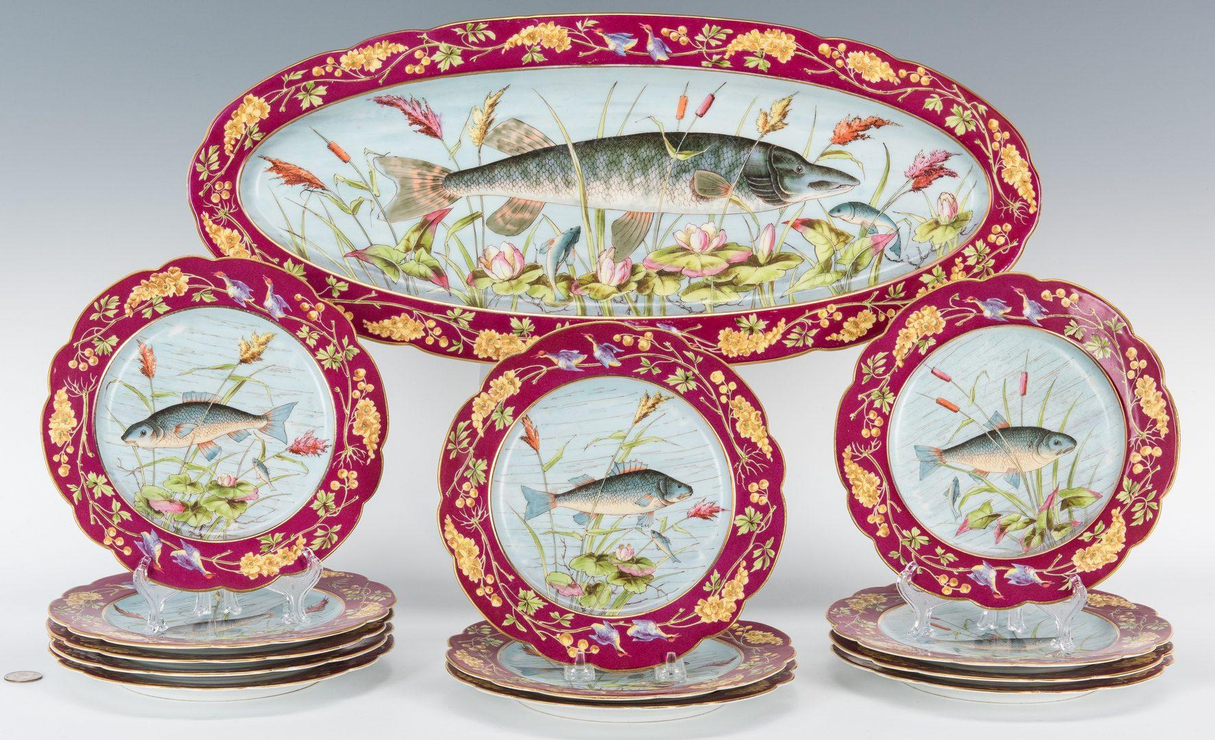 Lot 480: Austrian Porcelain Fish Plate Set, 13 pcs.