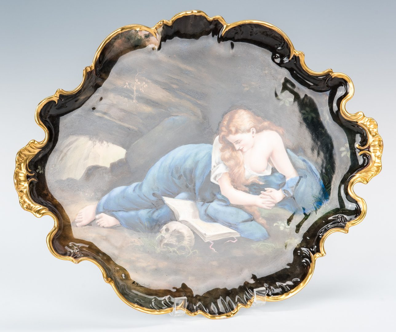 Lot 482: Limoges Plaque, Beauty with Skull