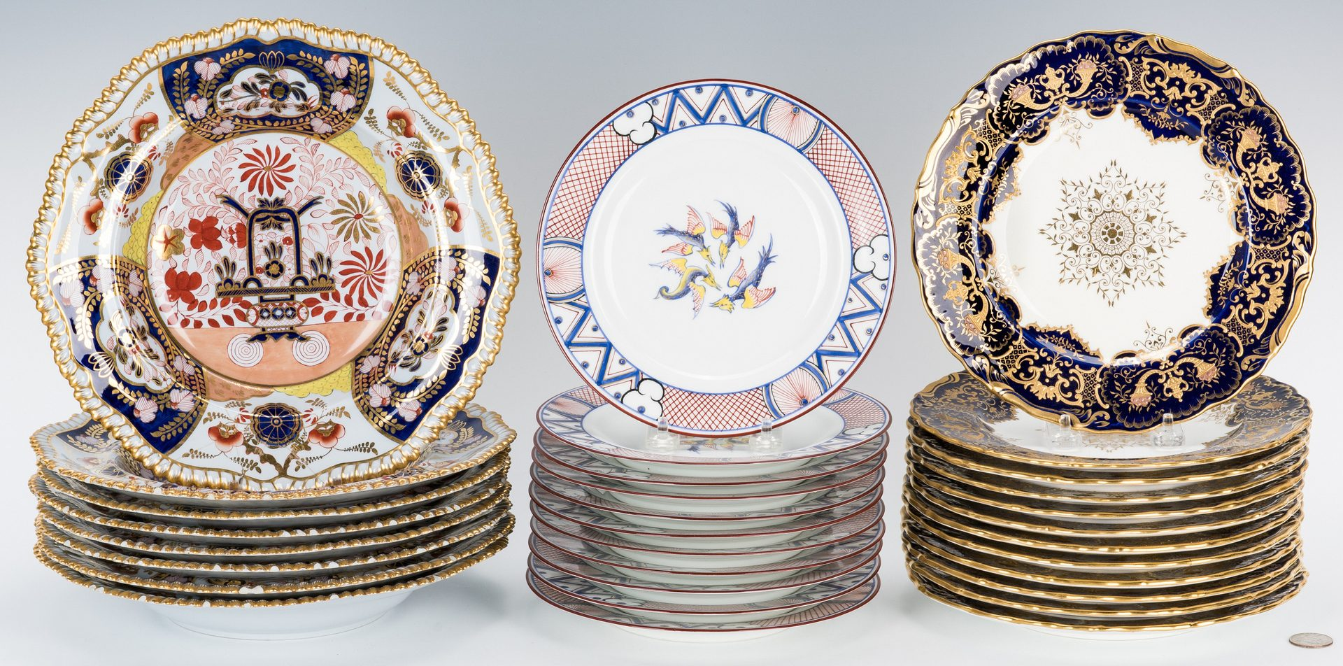 Lot 486: 31 pcs Tiffany retailed porcelain: Spode, Coalport, etc.