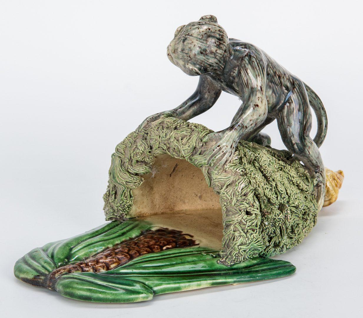 Lot 491: 8 Items Majolica: Palissy, Monkeys, Cherubs
