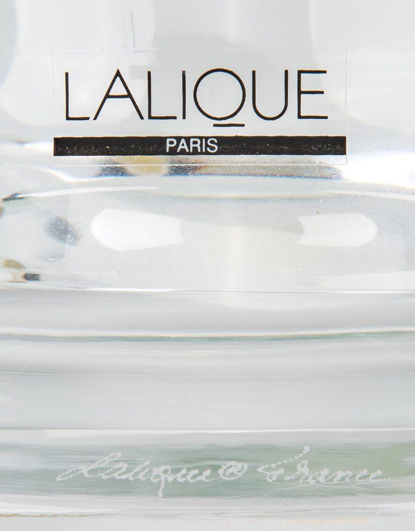 Lot 494: Lalique Green & Clear Tanega Vase