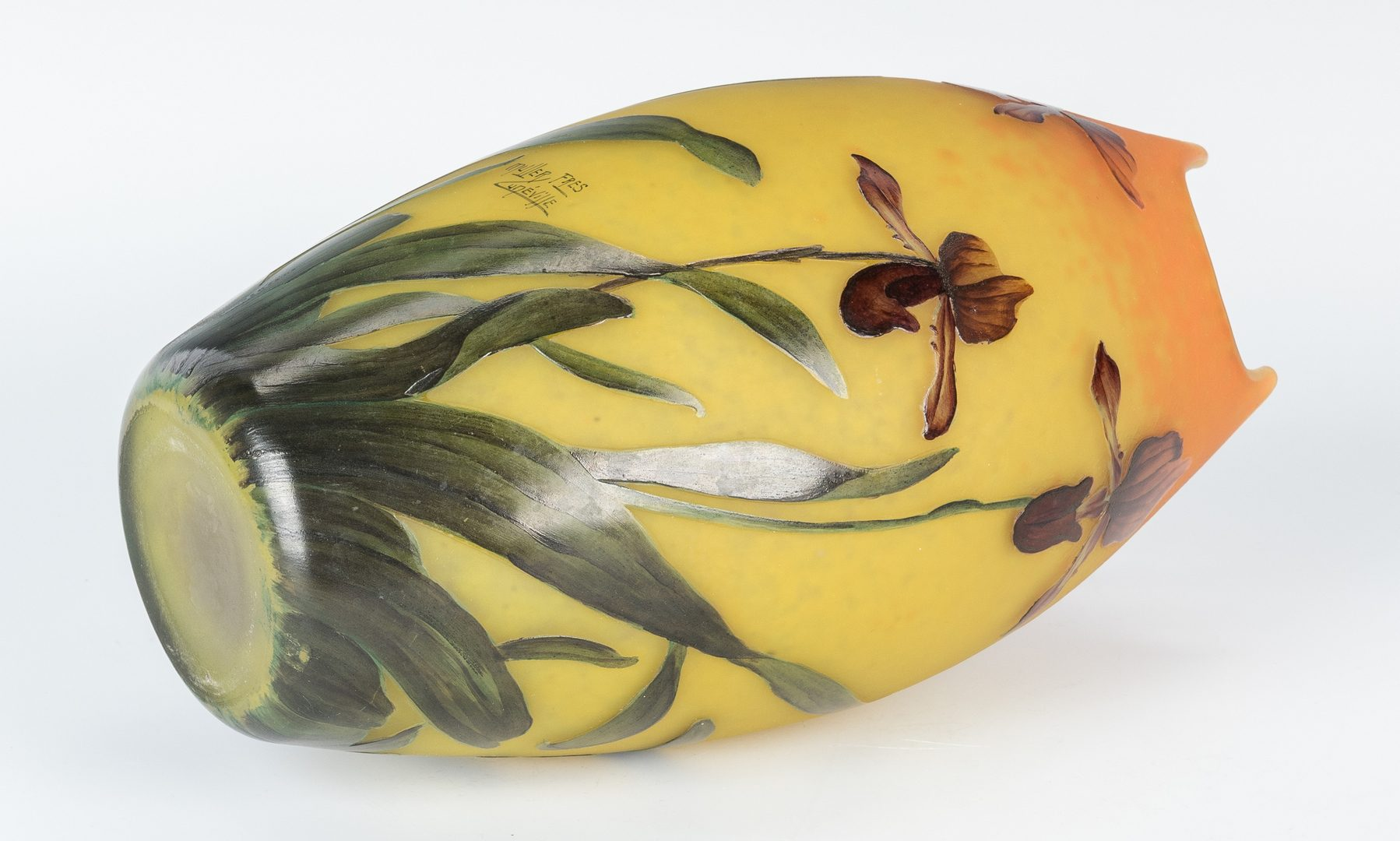 Lot 496: 2 French Cameo Cut Art Glass Vases, incl. Muller Freres, Devez