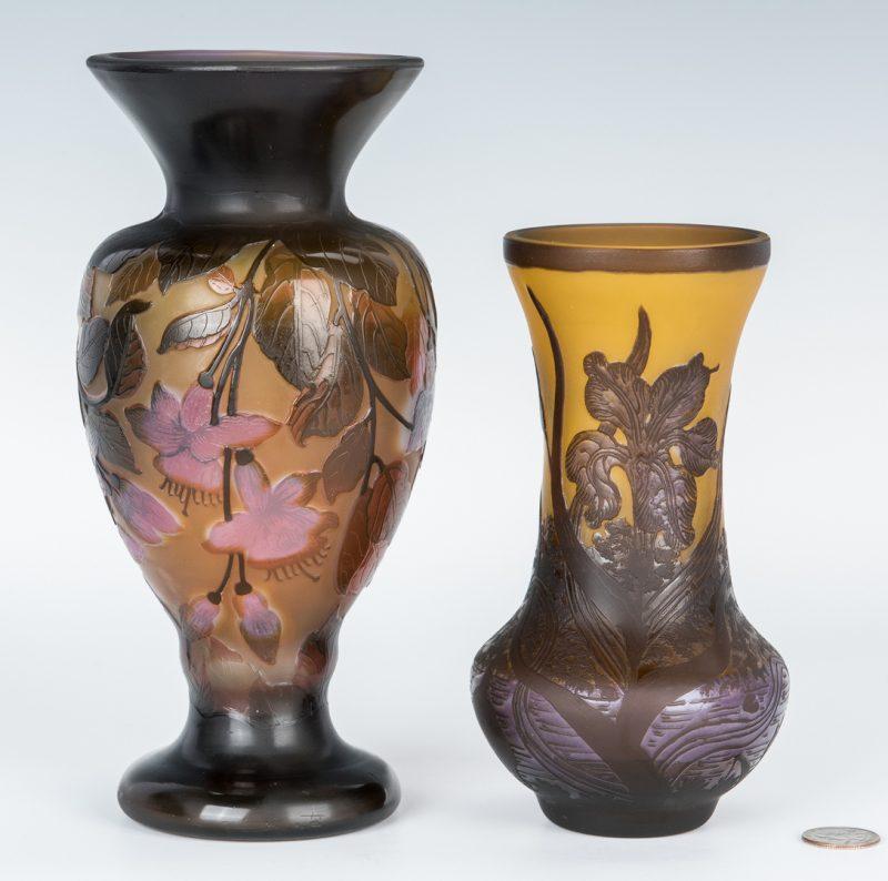 Lot 497: 2 European Cameo Cut Art Glass Vases, incl. Galle, Petrache