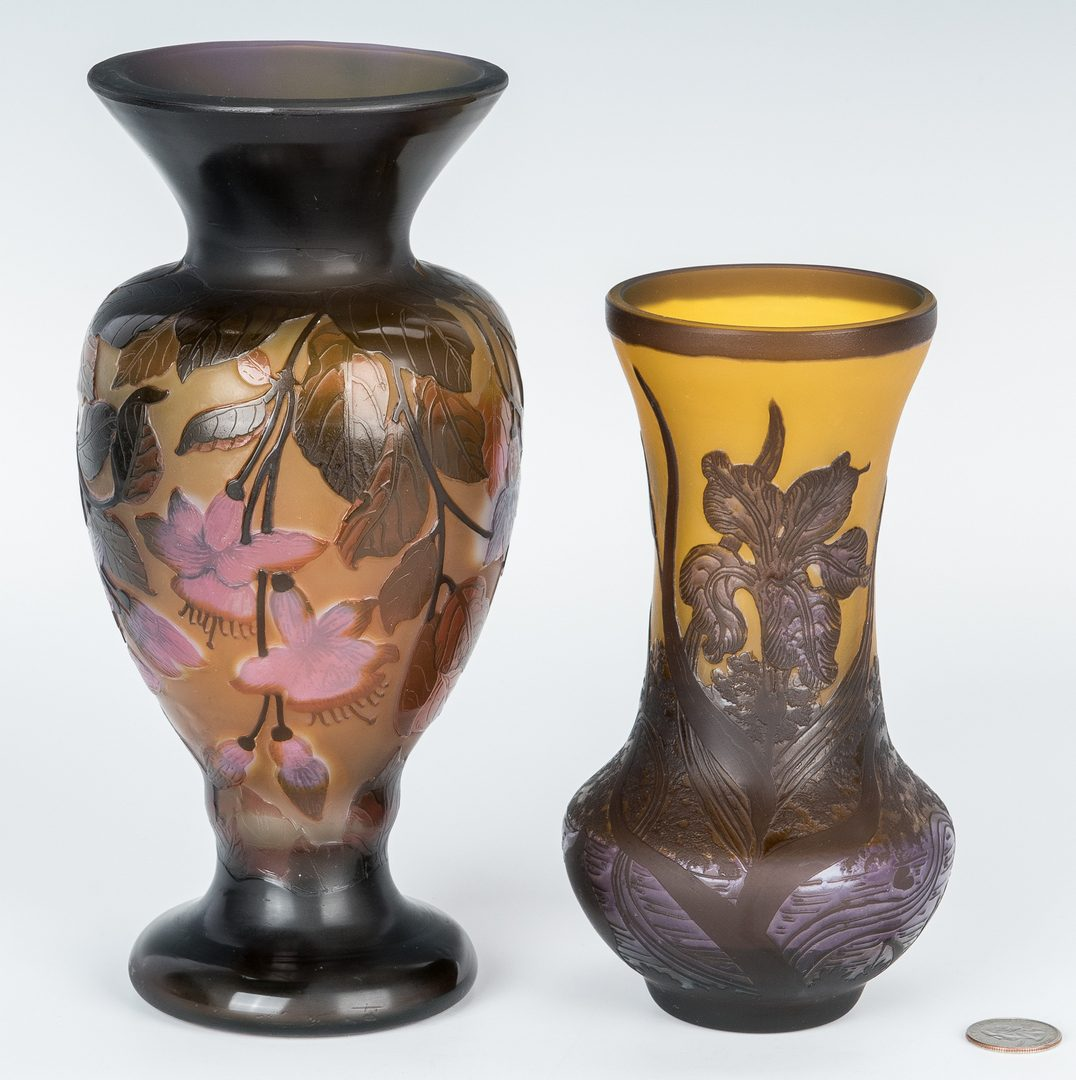 Lot 497: 2 European Cameo Cut Art Glass Vases, incl. Galle, Petrache