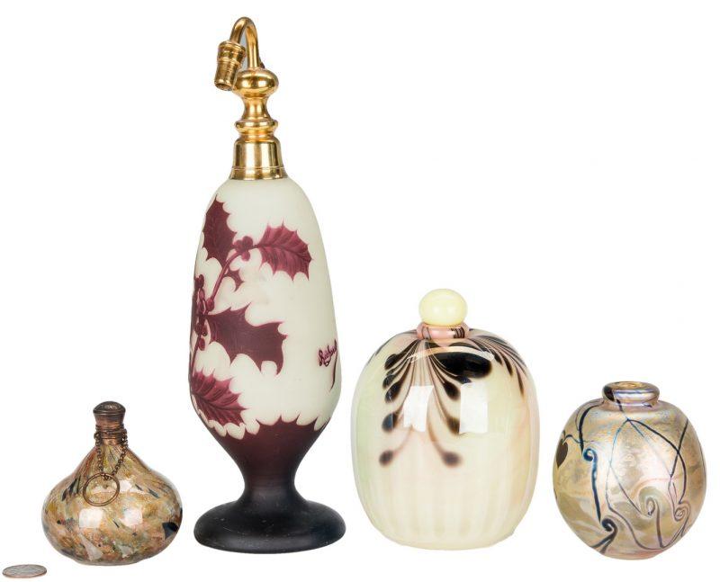 Lot 498: 4 Art Glass Perfume Bottles