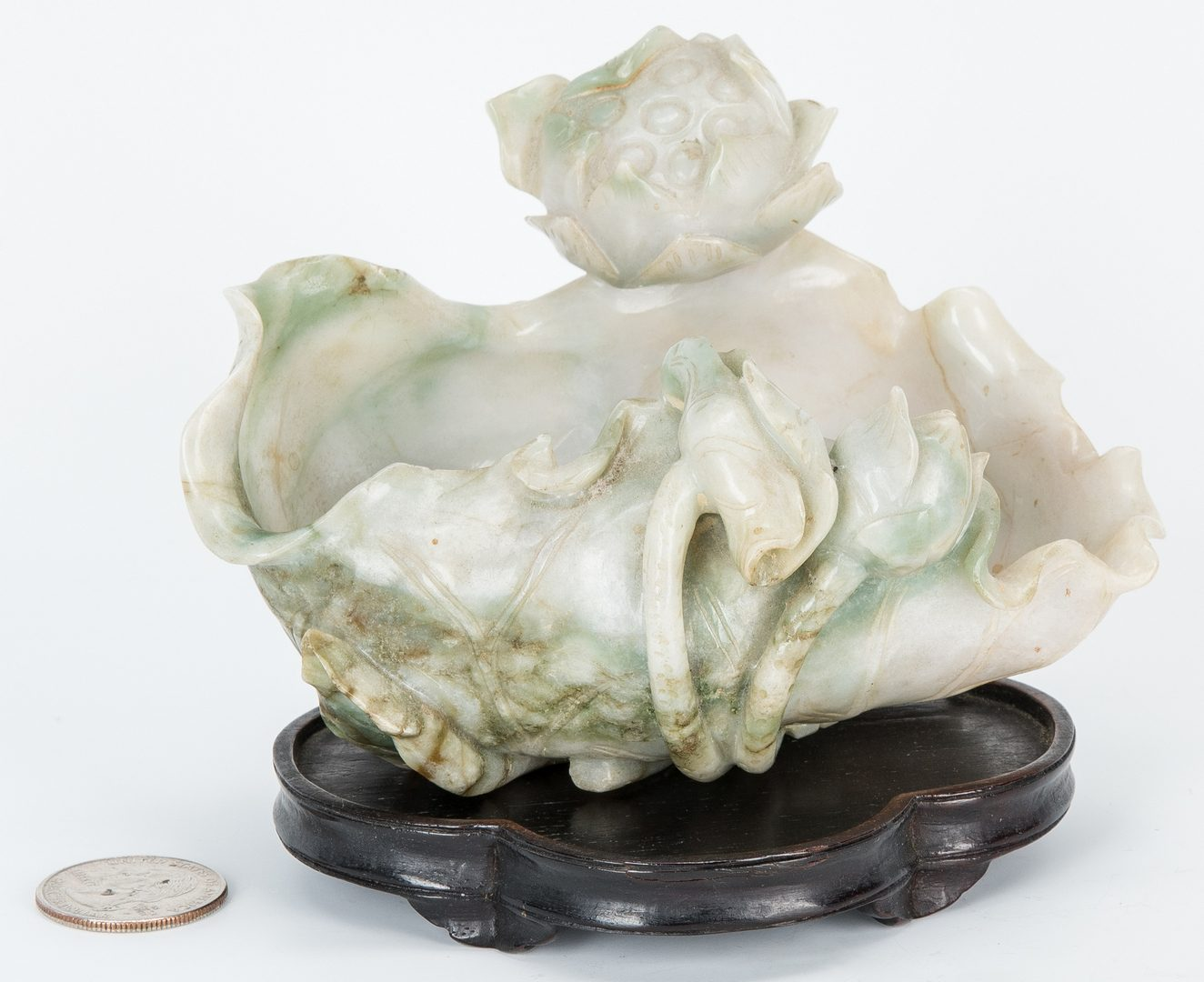 Lot 4: Carved Jade Lotus Blossom Bowl w/ Stand