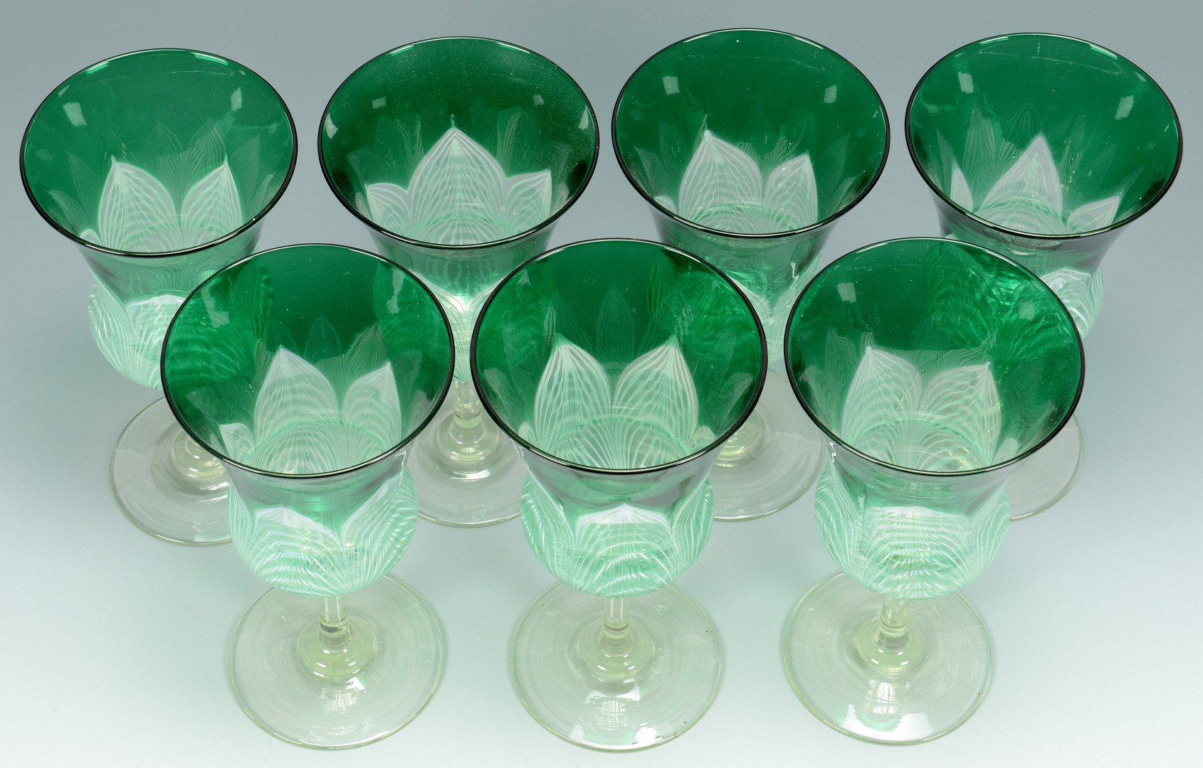 Lot 500: 7 Durand Peacock Feather Goblets