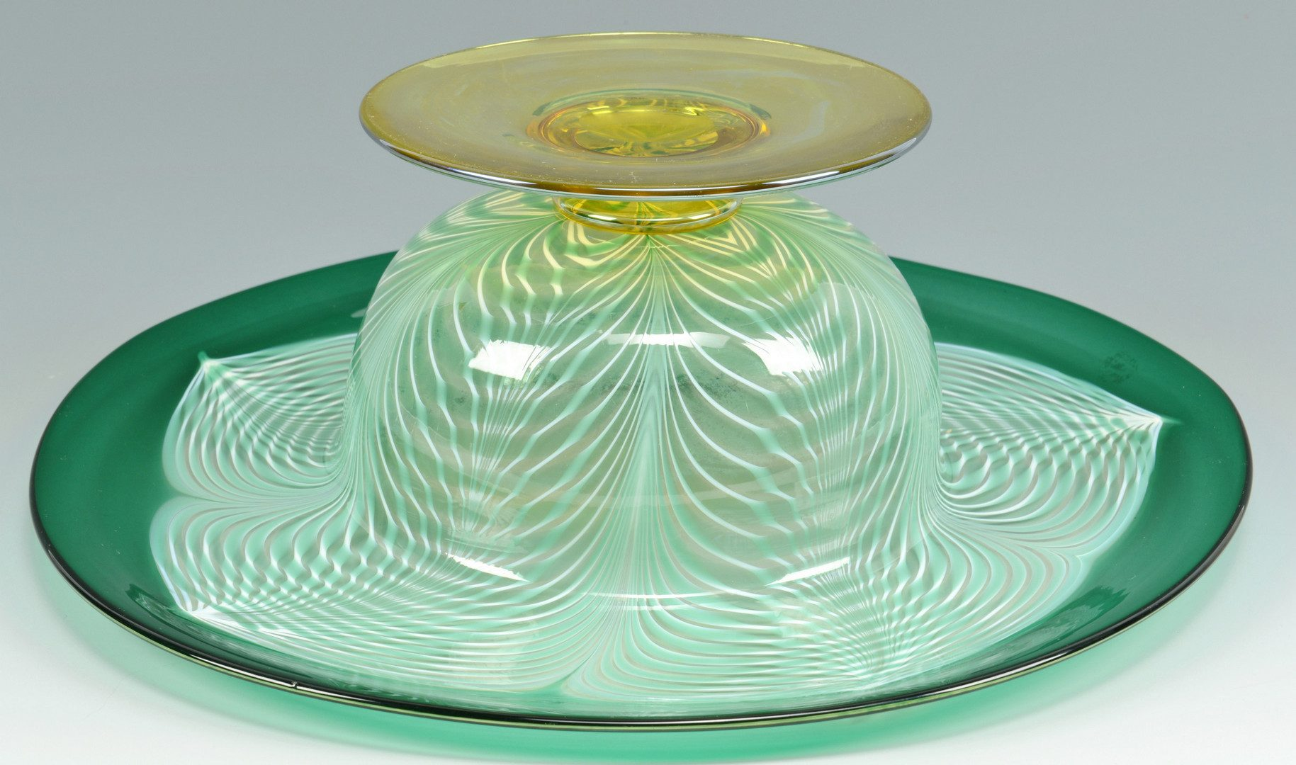 Lot 502: Large Durand Peacock Feather Compote