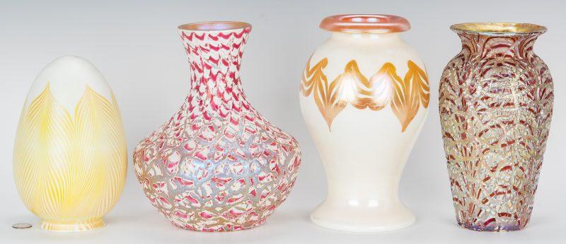 Lot 504: 2 pcs. Durand Art Glass, 2 Moorish Crackle Vases