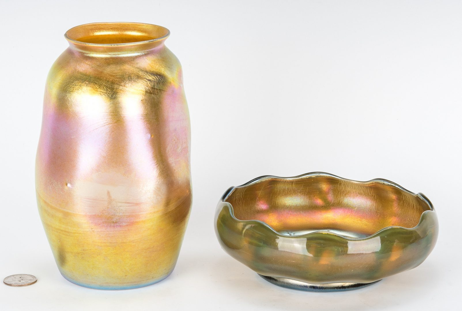 Lot 506: 2 Tiffany Favrile Items, Vase and Bowl