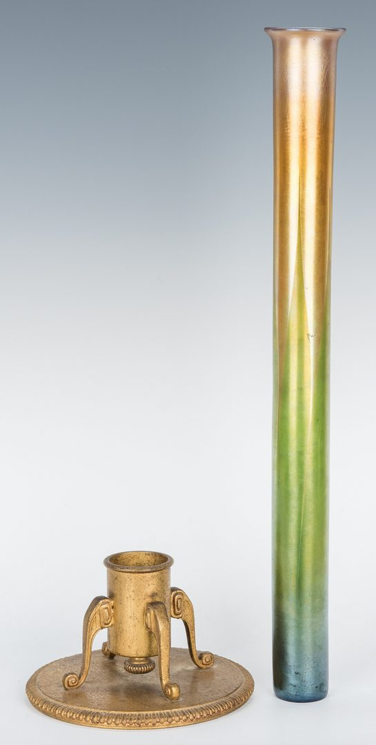 Lot 507: Large Tiffany Favrile Art Glass Vase w/ Bronze Stand