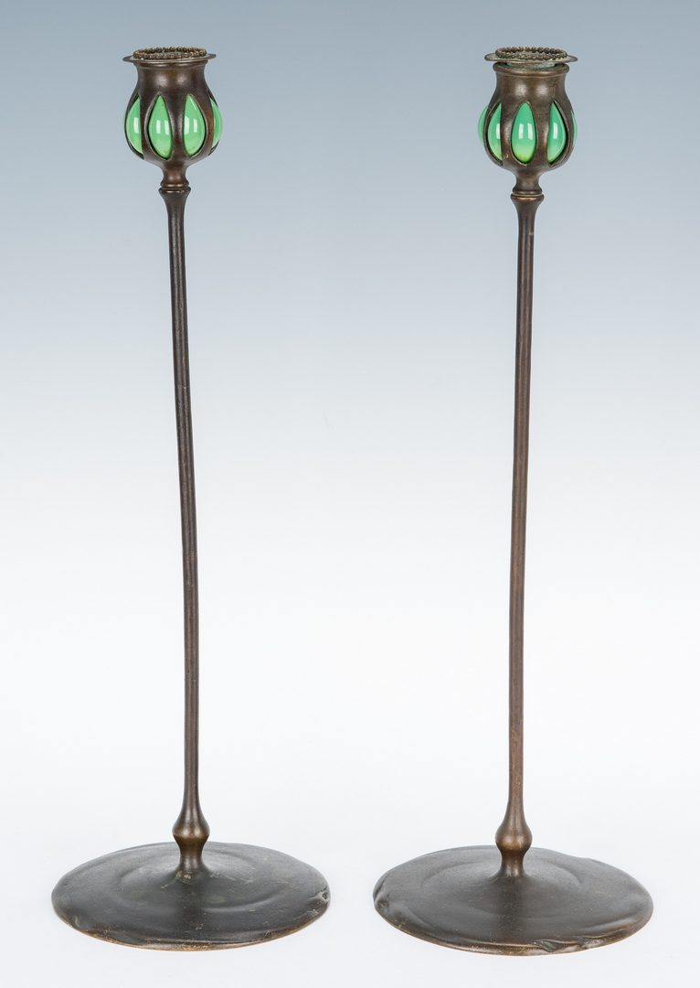 "Lot 508: Pair of Tiffany Studios Bronze & Glass ""Puddle"" Candlesticks"