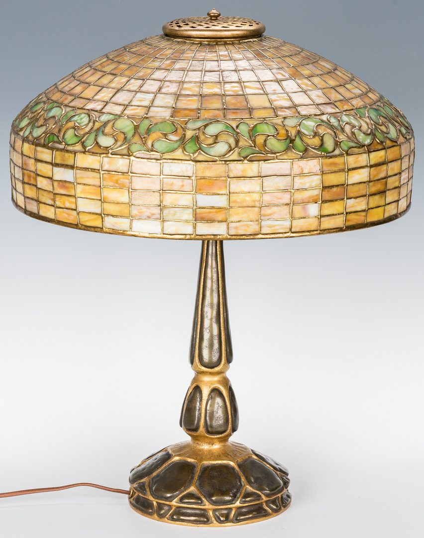 Lot 509: Tiffany Studios Mock Turtle Lamp & Lemon Leaf Shade
