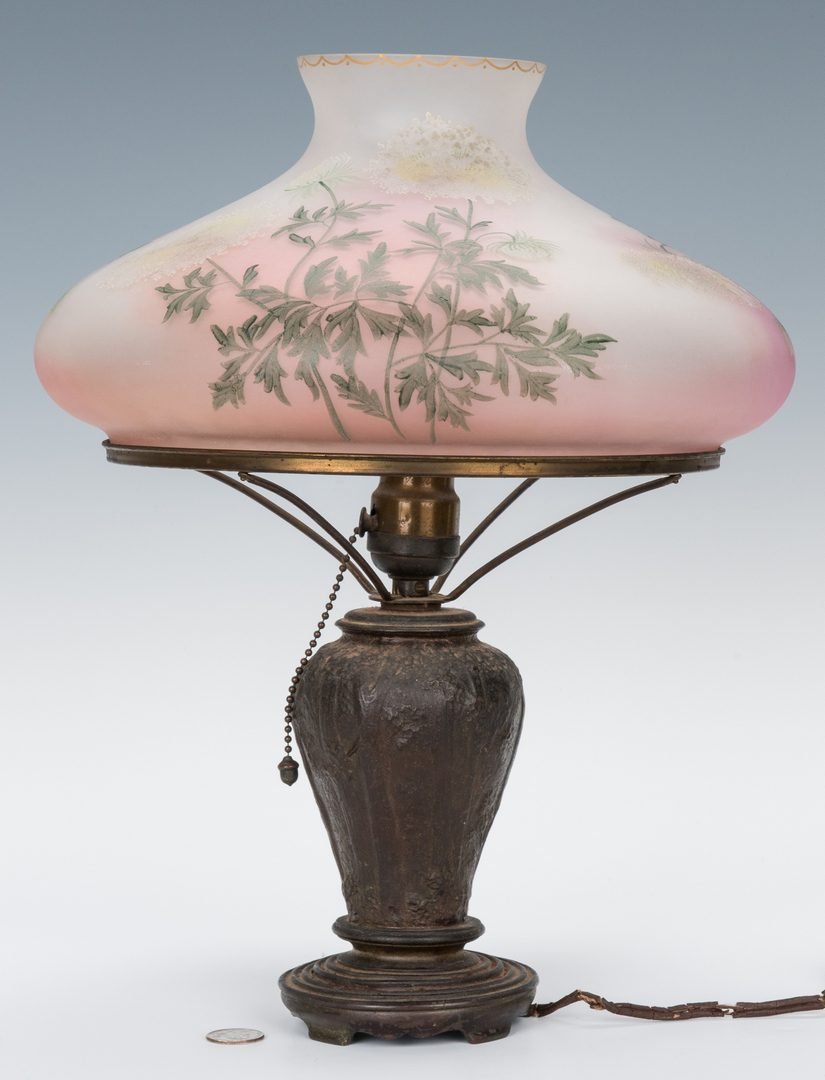 Lot 514: Handel Table Lamp, Forest Base with Floral Shade