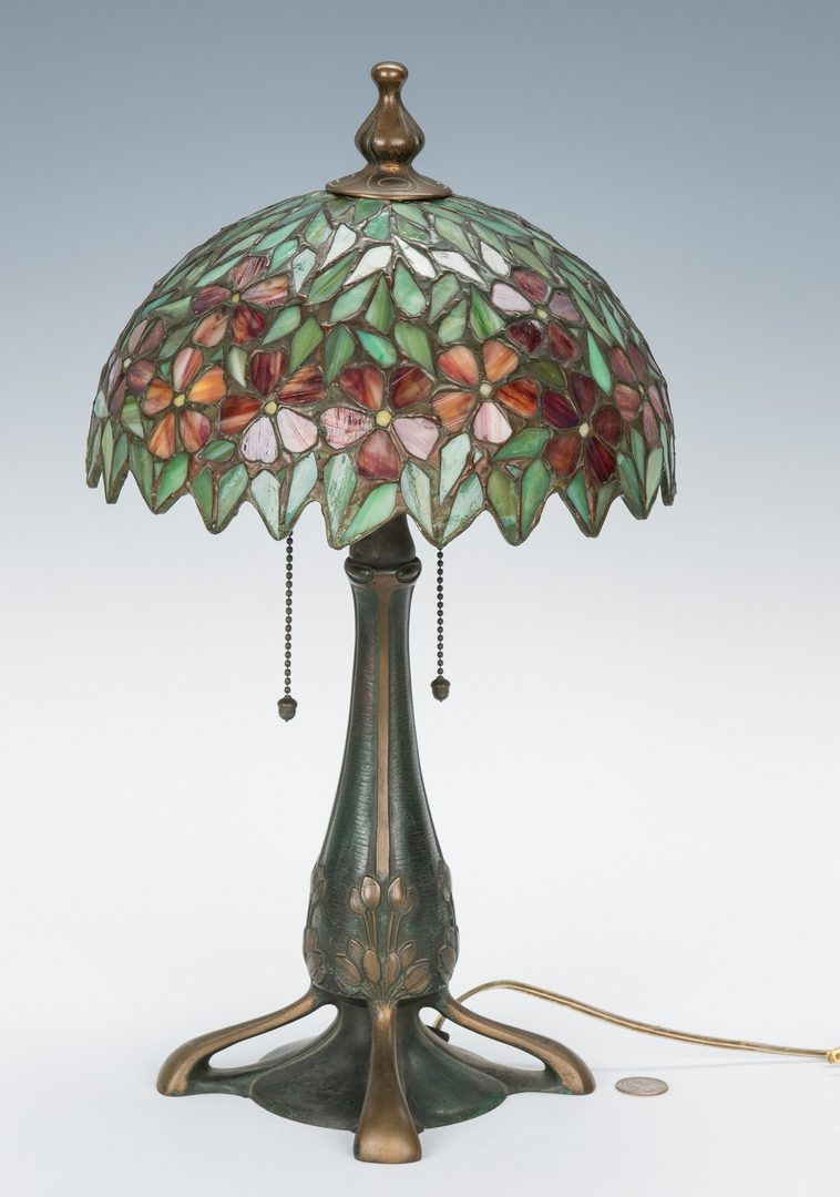 Lot 515: Arts & Crafts Handel Base Lamp, Leaded Floral Shade