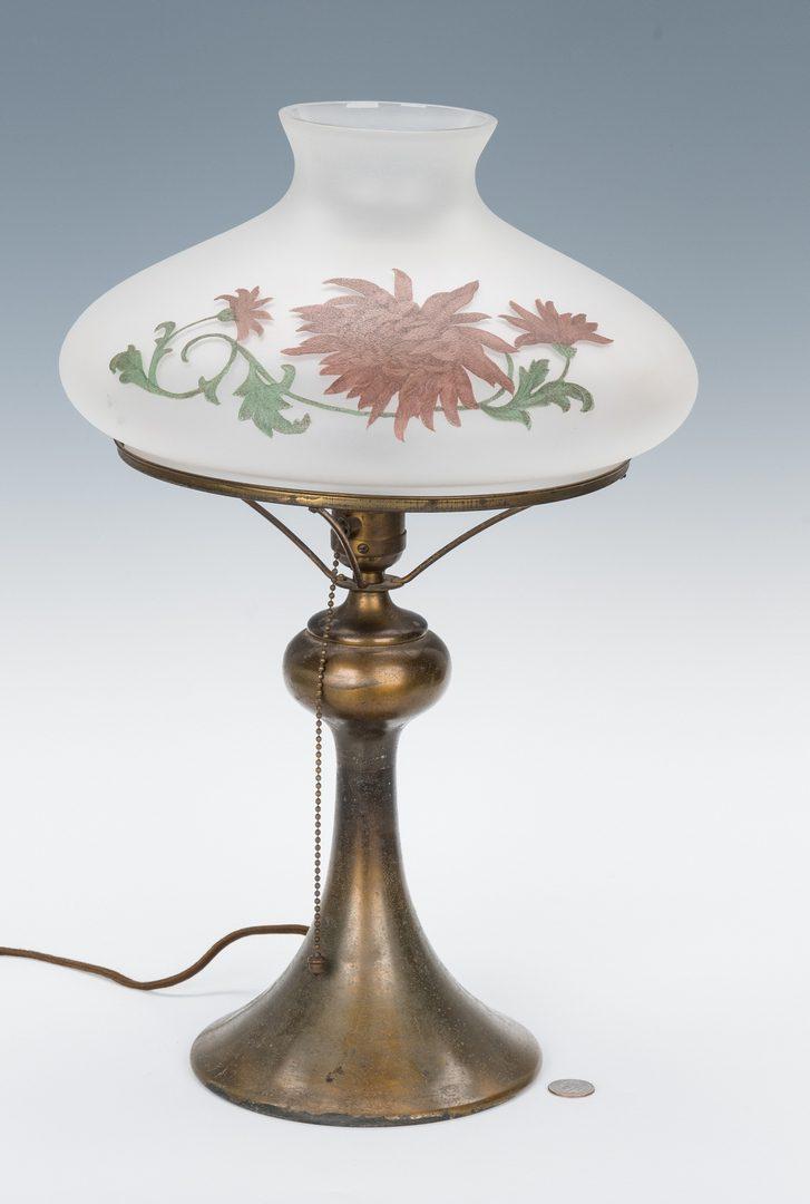 Lot 516: Arts & Crafts Table Lamp, Handel Shade, Hubbell Base