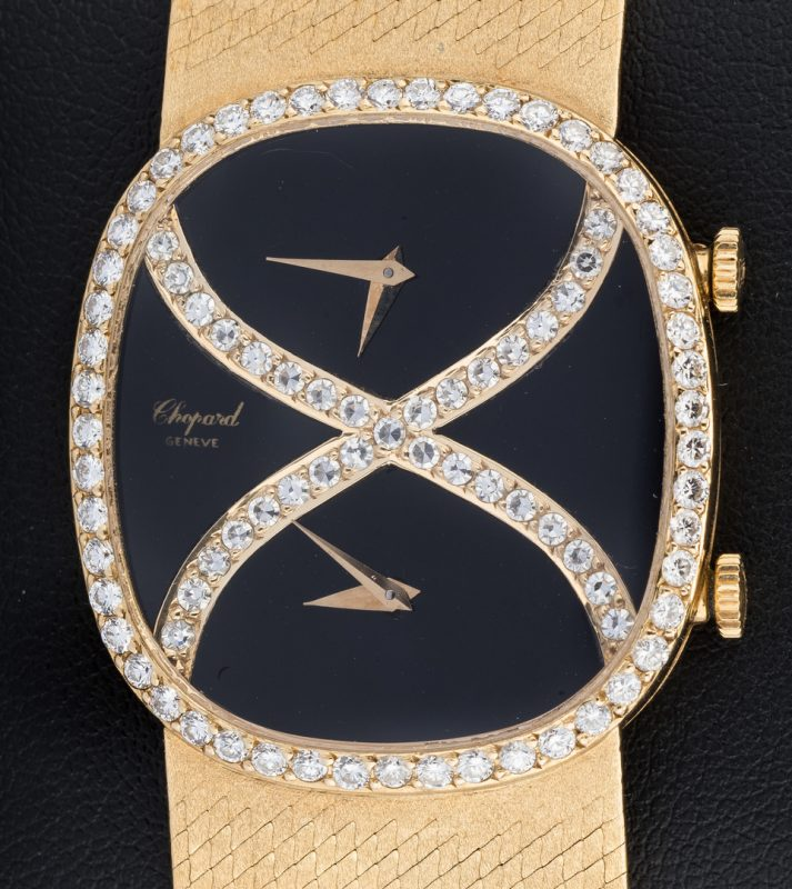 Lot 51: Chopard 18k Dia Dual Time Zone Watch