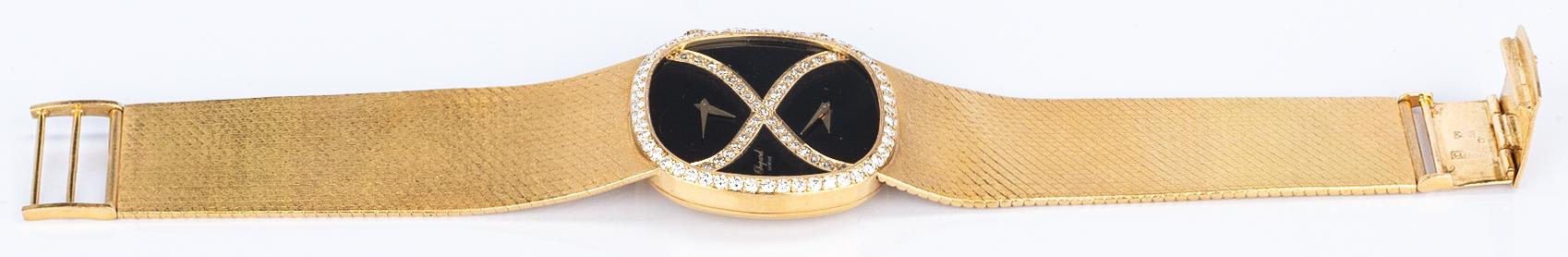 Lot 51: Chopard 18k Dia Dual Time Zone Watch
