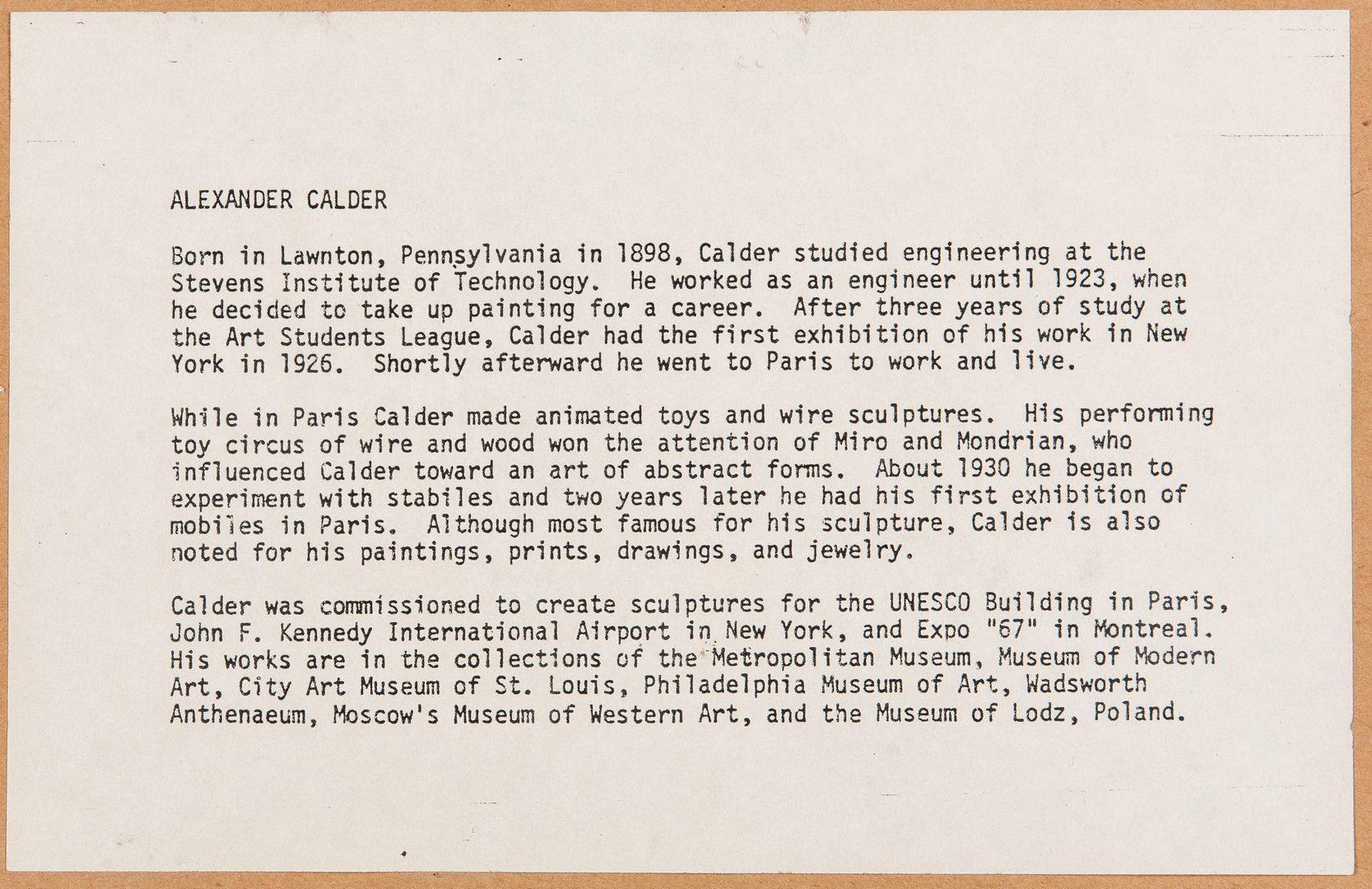 Lot 527: Alexander Calder Signed Litho, Pyramids