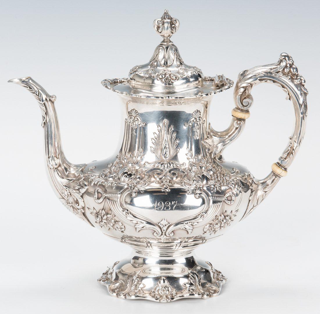 Lot 52: 5 Pc Francis 1 Sterling Tea Service; Ellis Barker tray