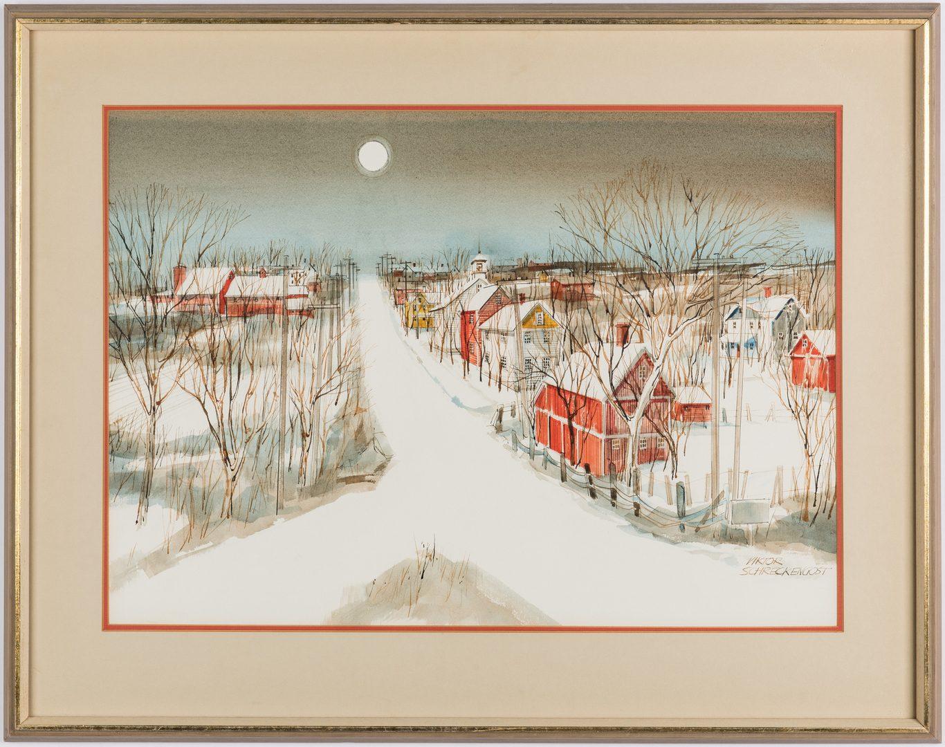 Lot 533: Victor Schreckengost w/c Snow Village