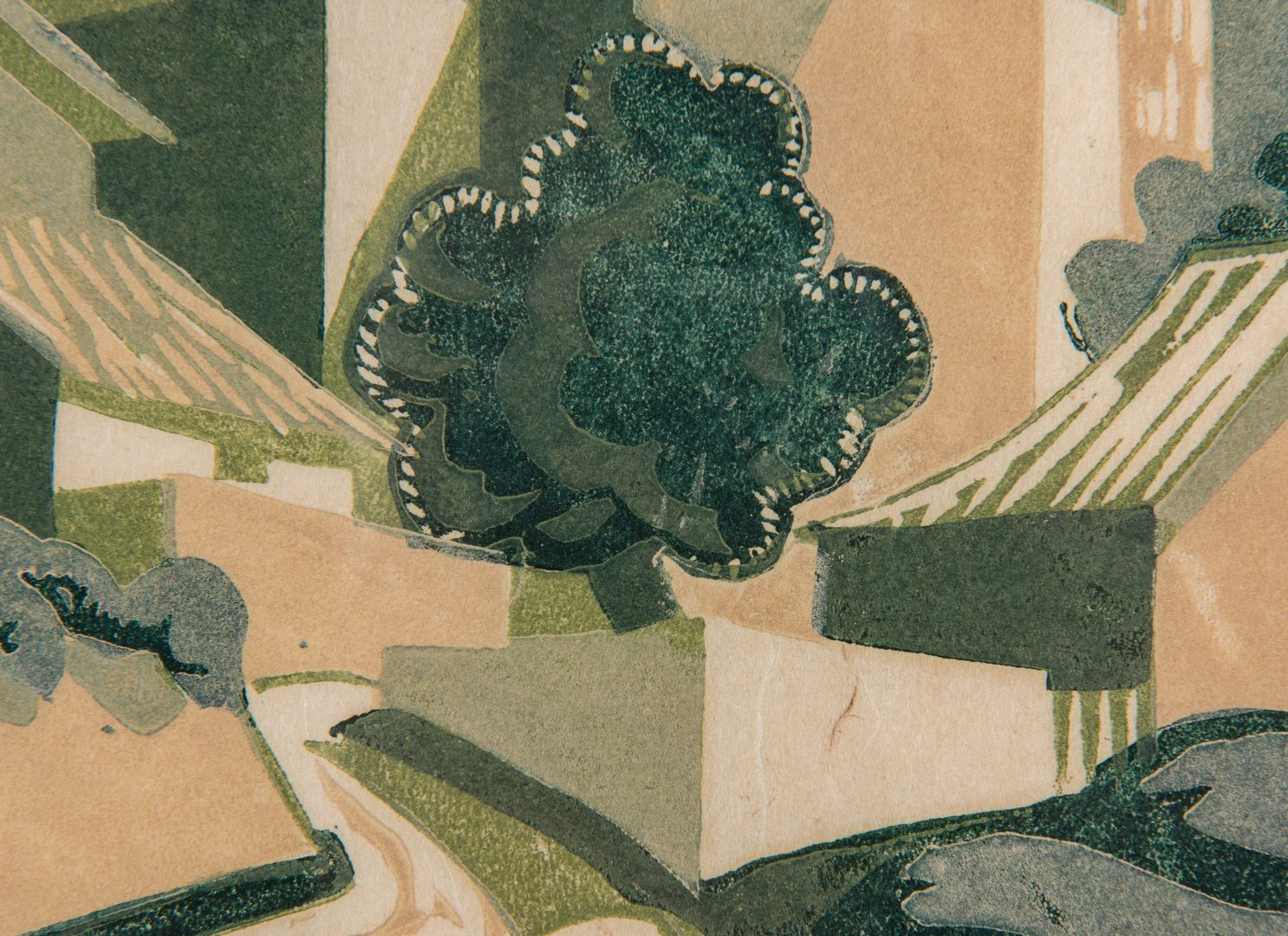 Lot 537: 2 Ursula Fookes Linocuts, Built Up Town & Pastoral Scene