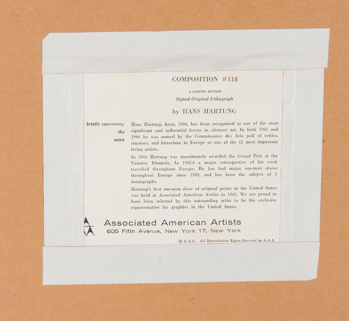 Lot 539: Hans Hartung Lithograph, Composition 118