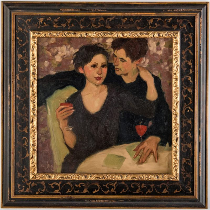 Lot 544: Linda Kyser Smith Oil on Panel, Couple at Table