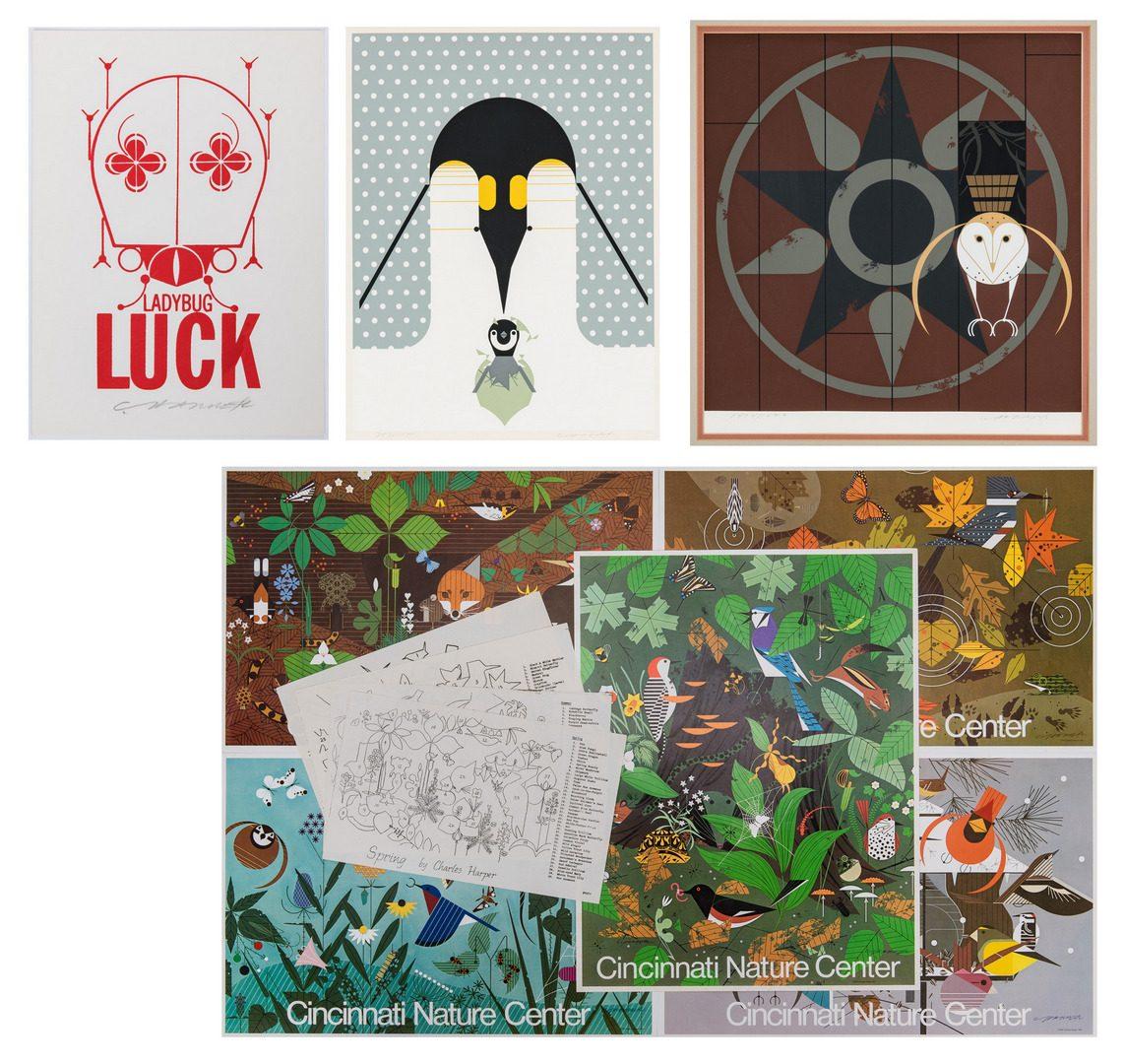 Lot 547: 2 Charley Harper Serigraphs, 5 Posters & more